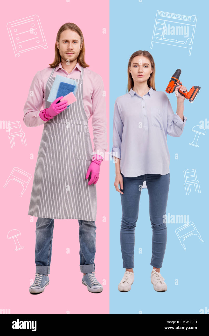 Modern couple looking unusual while showing new gender roles - Stock Image
