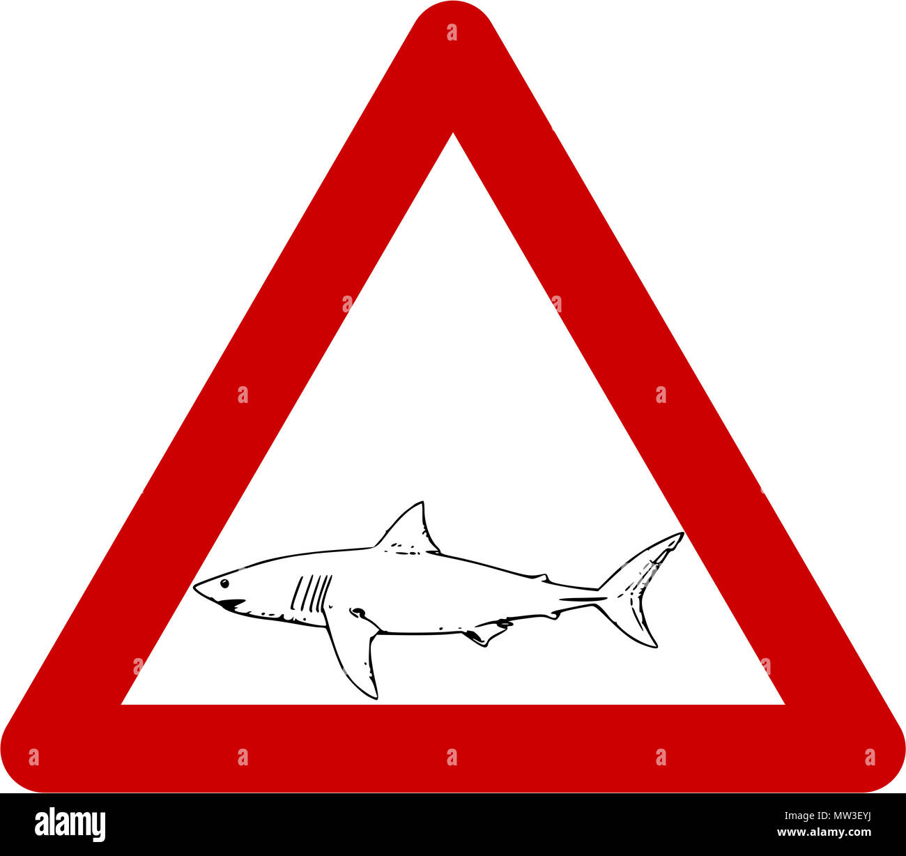 Warning Sign With Shark Symbol Stock Photo 187547686 Alamy