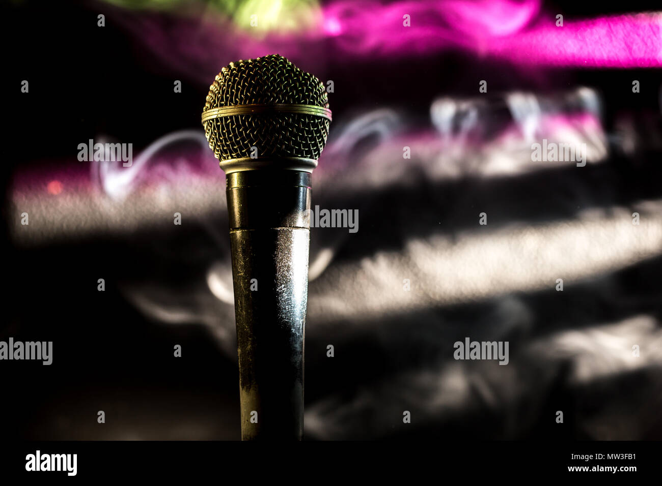 the old dynamic vocal microphone, beautiful, background