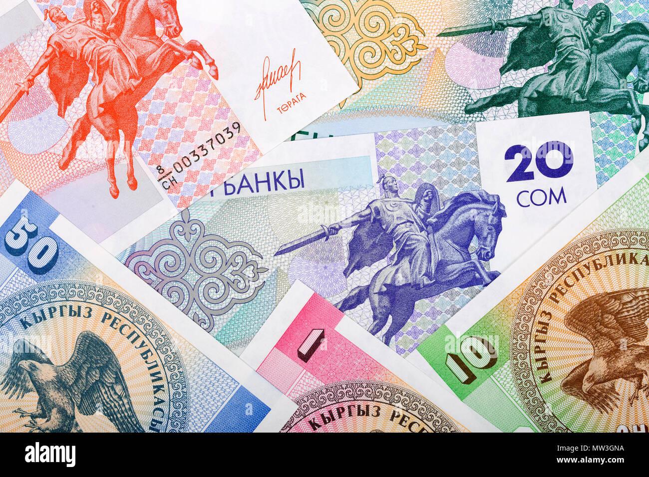 Kyrgyz money, a background - Stock Image