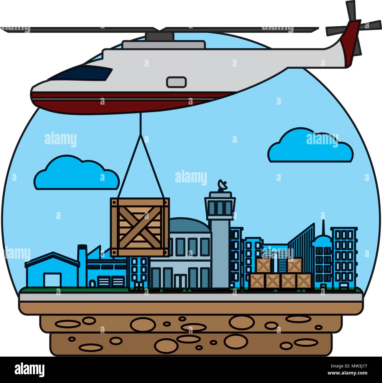 helicopter transport with wood box delivery - Stock Vector