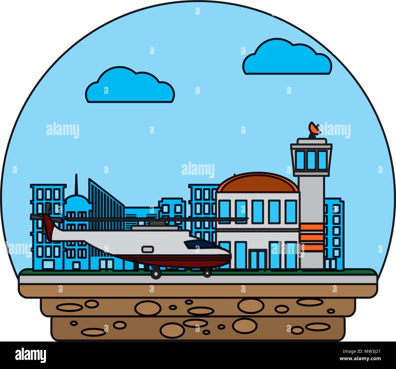 airport place service with helicopter transportation - Stock Vector