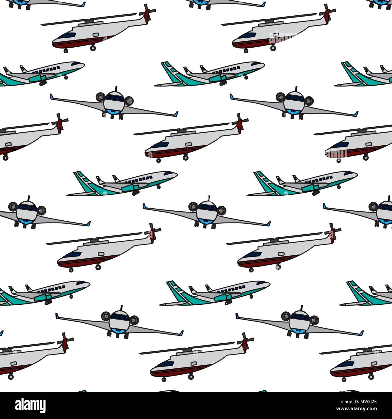 airplane and helicopter travel transport background - Stock Vector