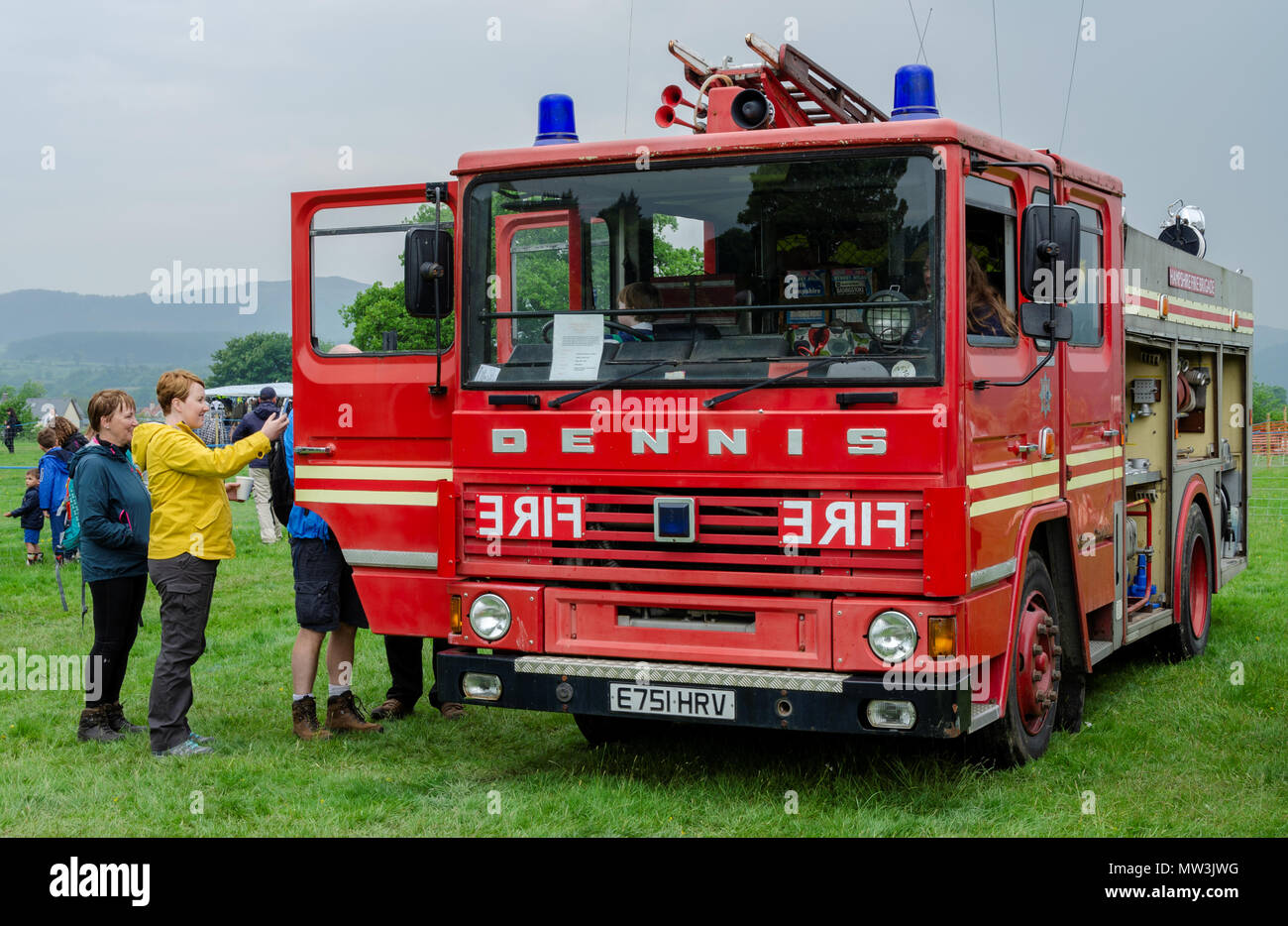 Bala Lake, UK: May 27, 2018: Despite the poor weather, The Festival of Transport saw a good turn out of classic cars, tractors, bikes, Landrovers, com Stock Photo