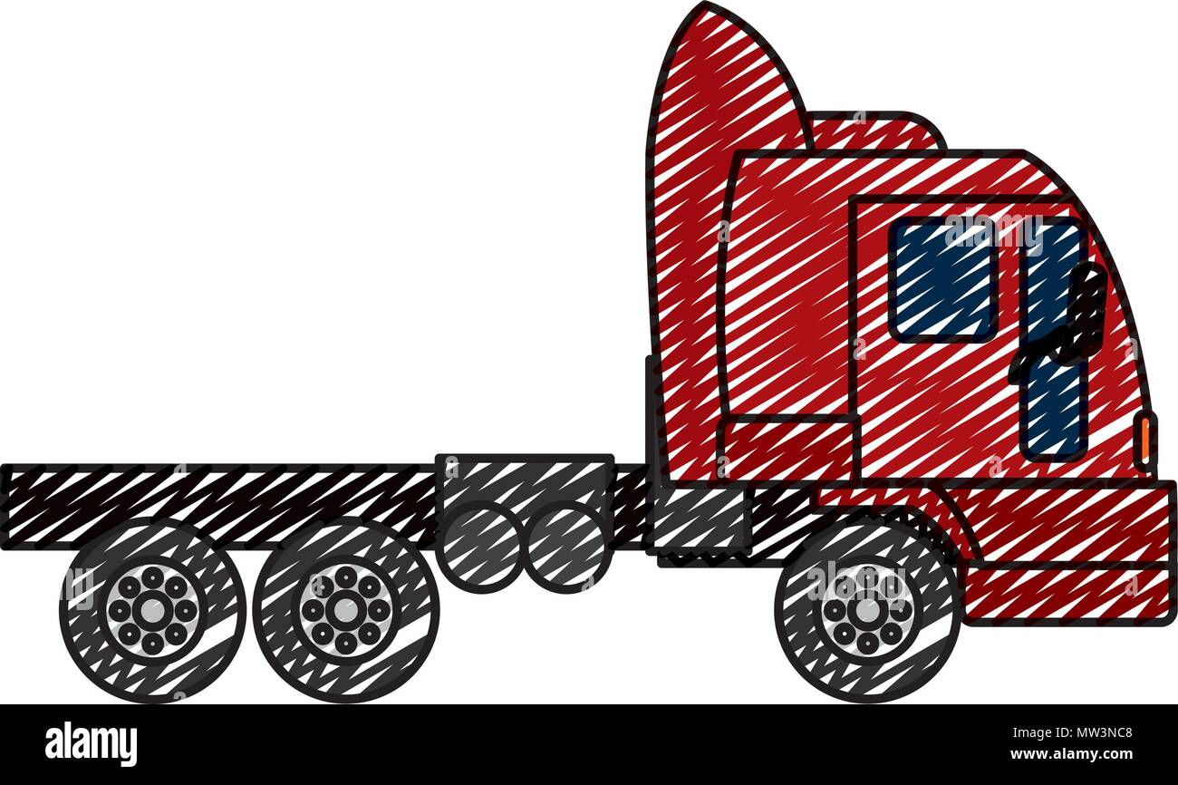 doodle side truck transport service vehicle Stock Vector