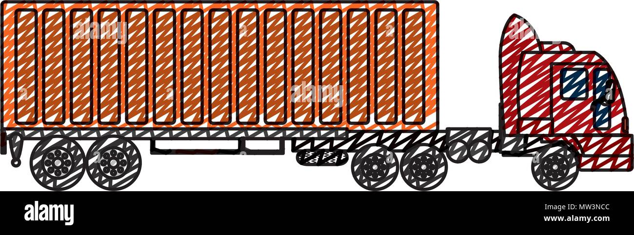 doodle side truck transport with container cargo Stock Vector