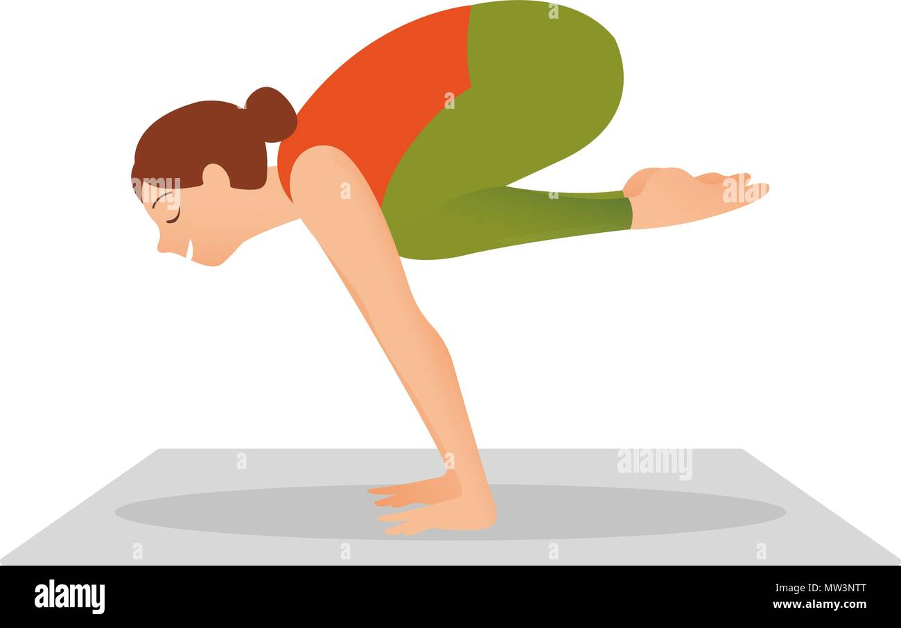 Young woman working out indoors, doing yoga - Stock Vector