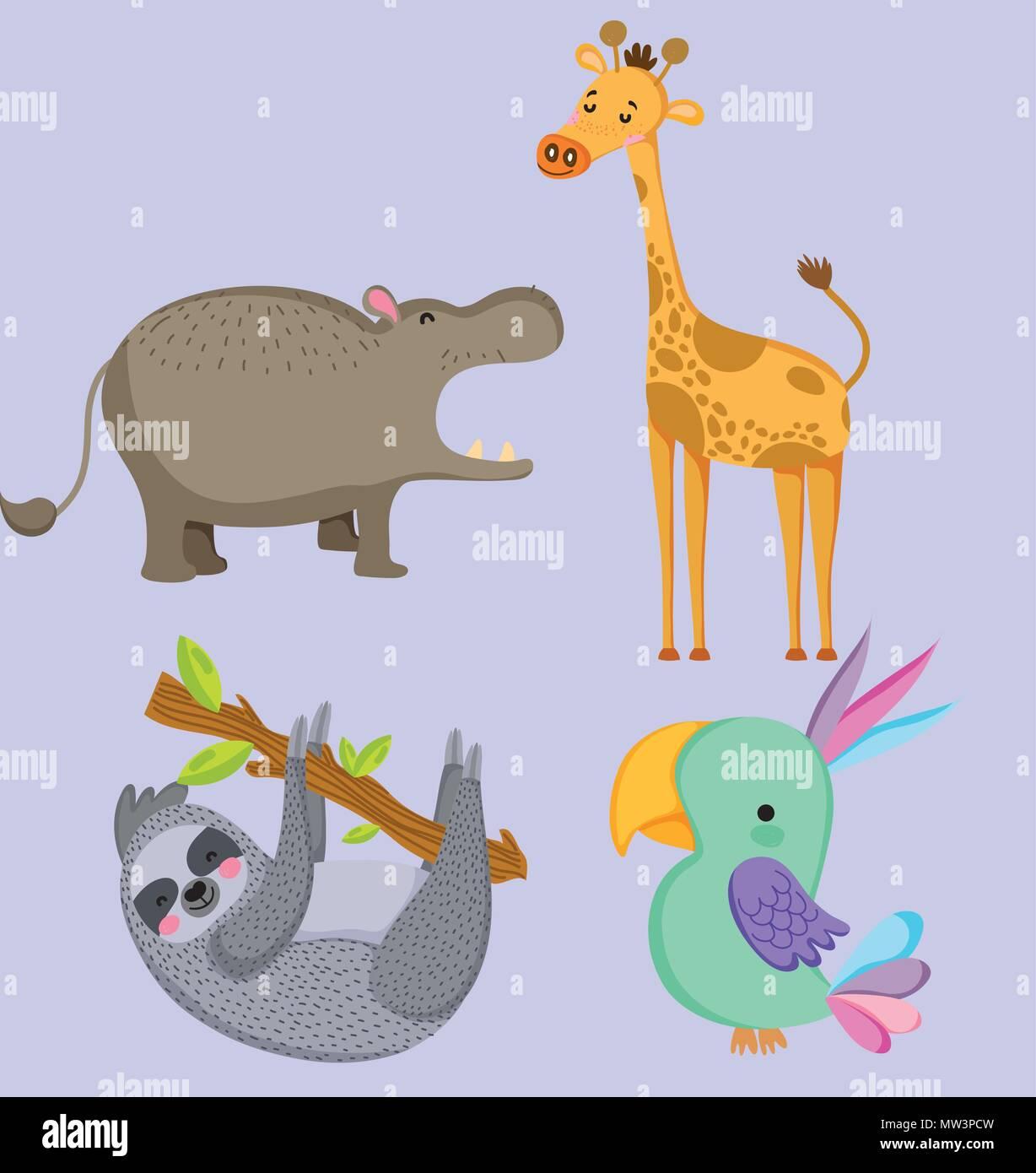 Cute wildlife animals Stock Vector