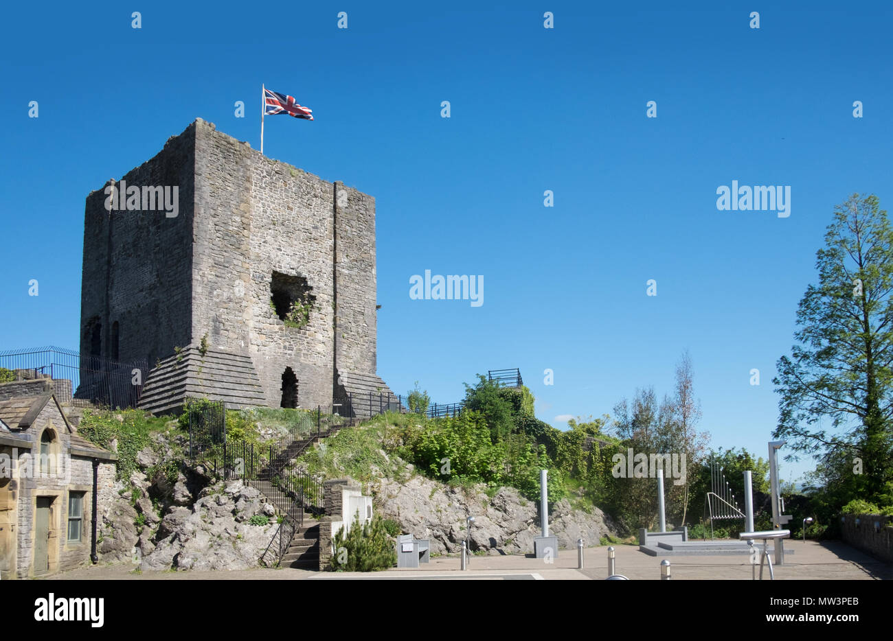Clitheroe Castle, a ruined norman keep in the Ribble Valley, Lancashire - Stock Image