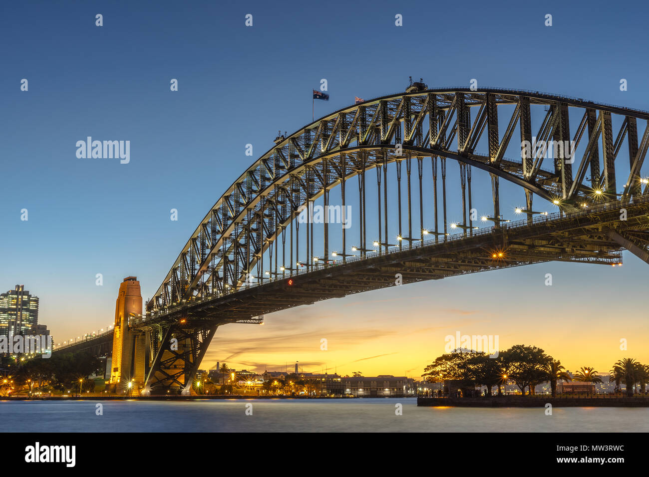 Harbour Bridge in Sydney after the sunset - Stock Image