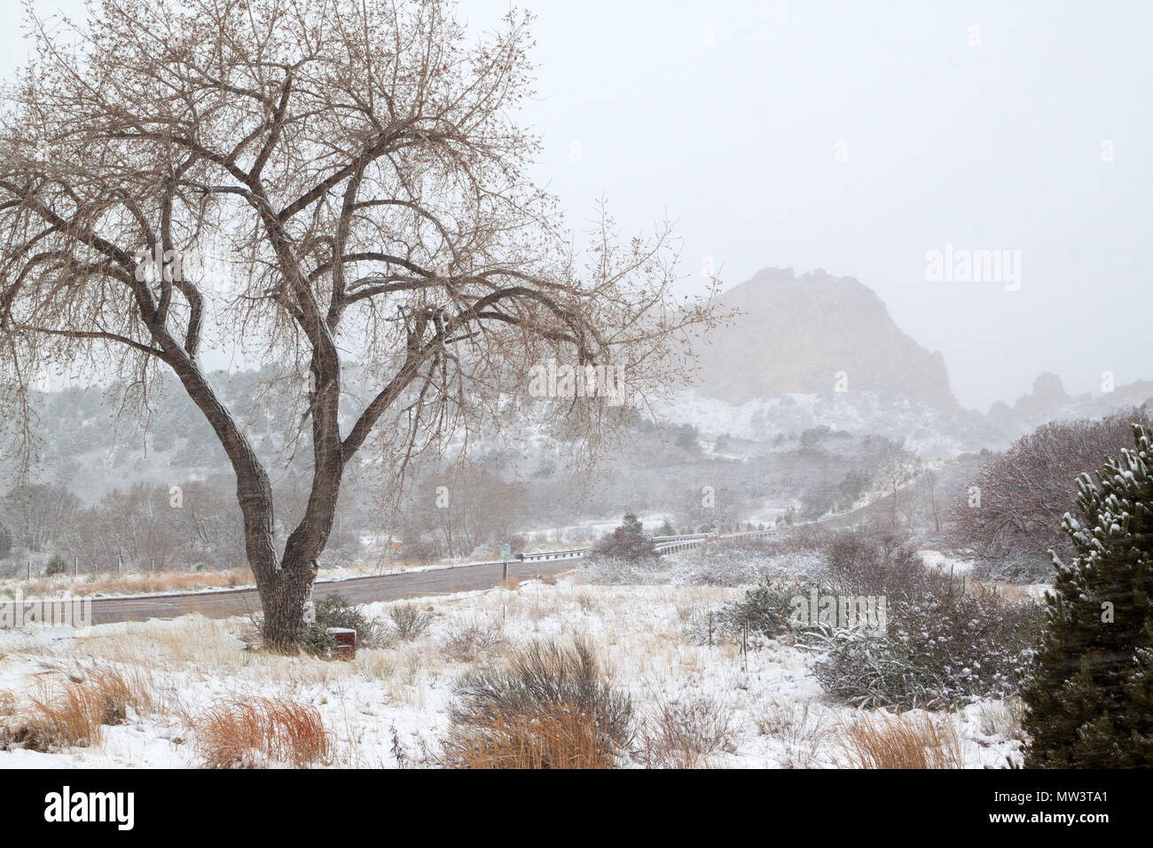 Garden of the Gods entrance during a heavy spring snowstorm - Stock Image