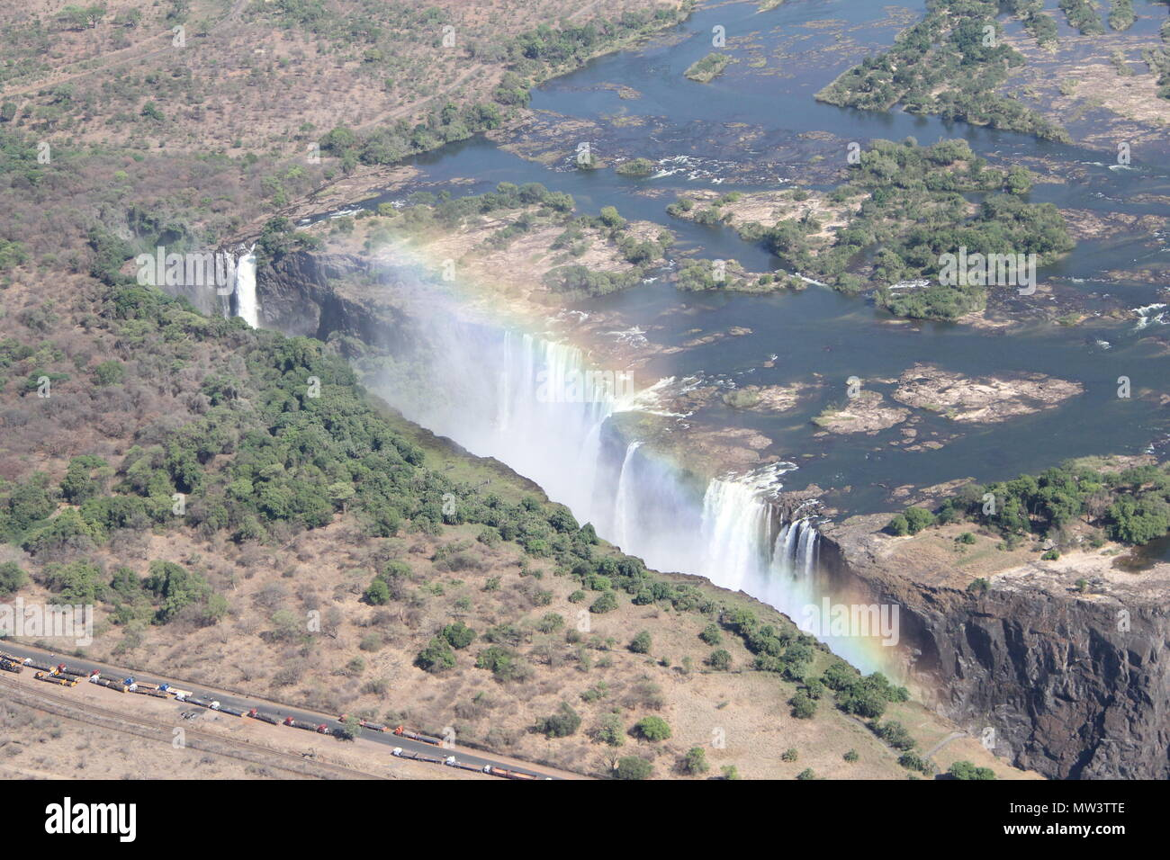 Victoria Falls waterfall aerial shots from helicopter - Stock Image