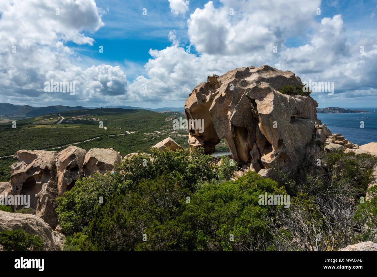 A view of the whole bear at Bear rock (Roccia dell'Orso), Capo d'Orso, Sardinia - Stock Image