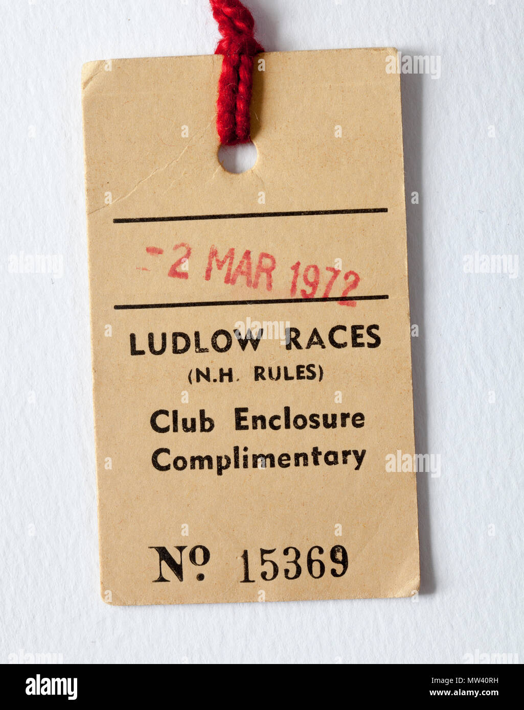 Old Vintage Race Course Entry Badge Tag - Ludlow Races Stock Photo ...