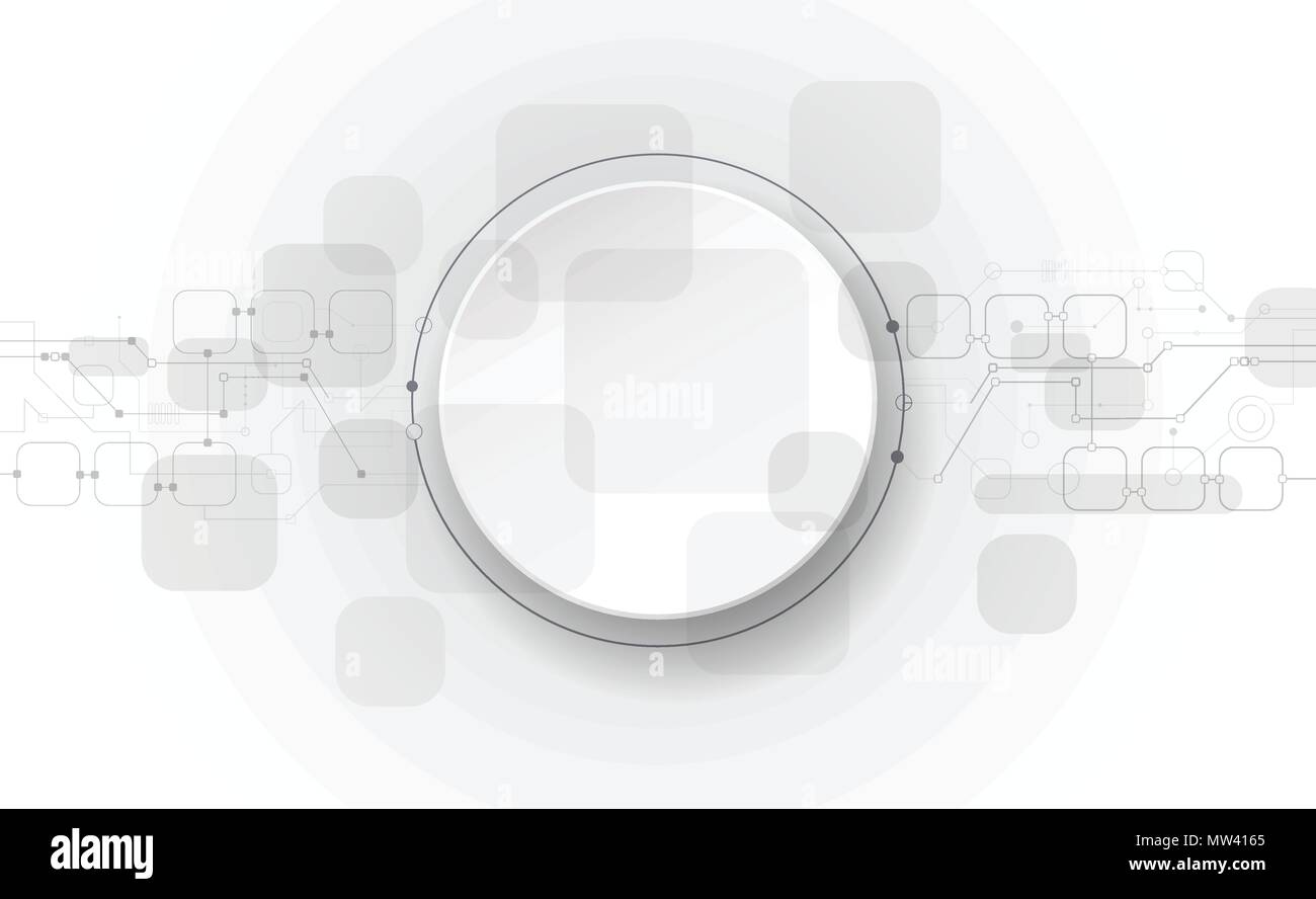 Vector  illustration abstract futuristic, circuit board on light gray background, Modern hi-tech digital technology concept. Blank white 3d paper circ - Stock Image