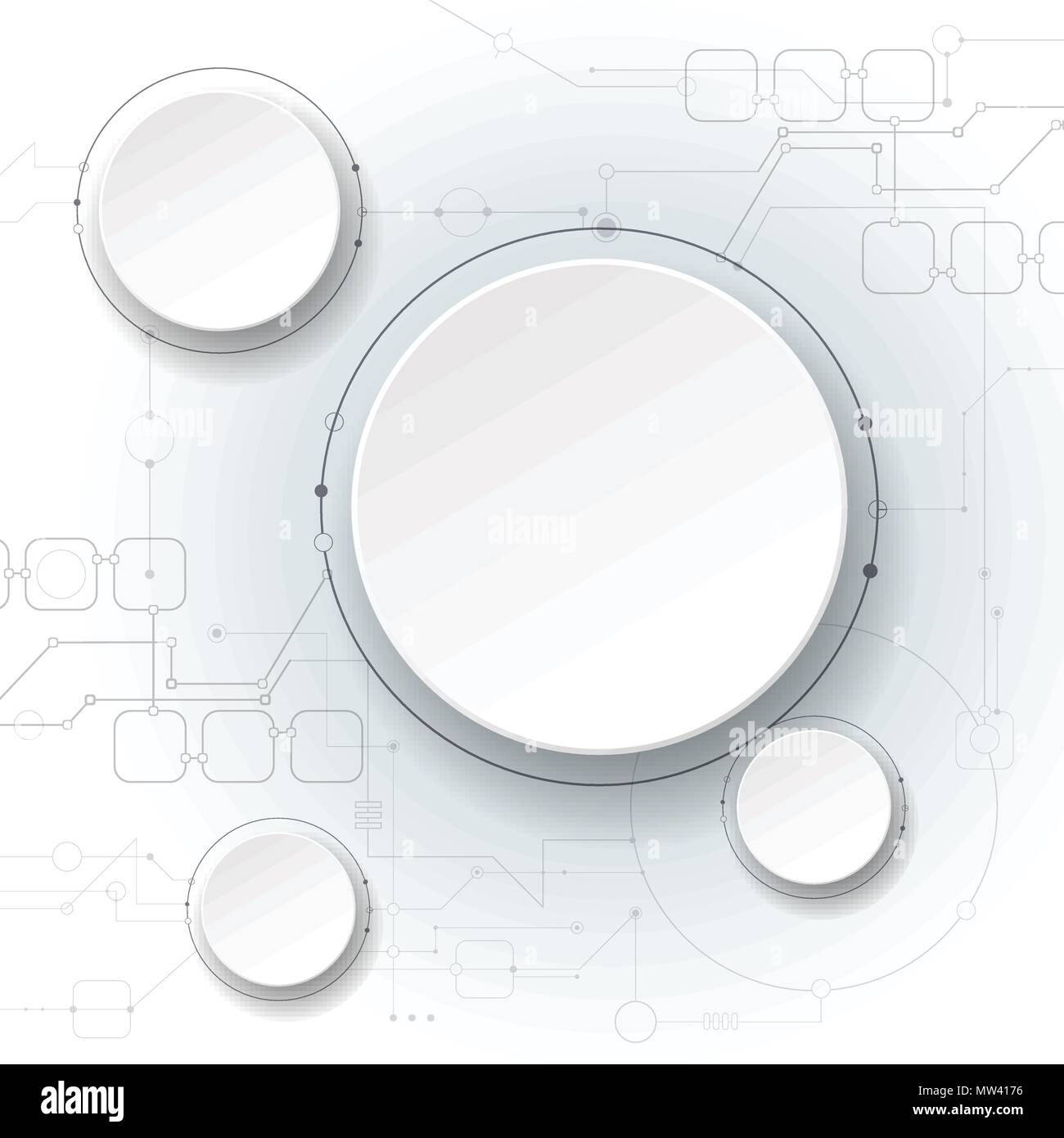 Vector Illustration Abstract Futuristic Circuit Board On Light Gray Blank Background Modern Hi Tech Digital Technology Concept White 3d Paper Circ