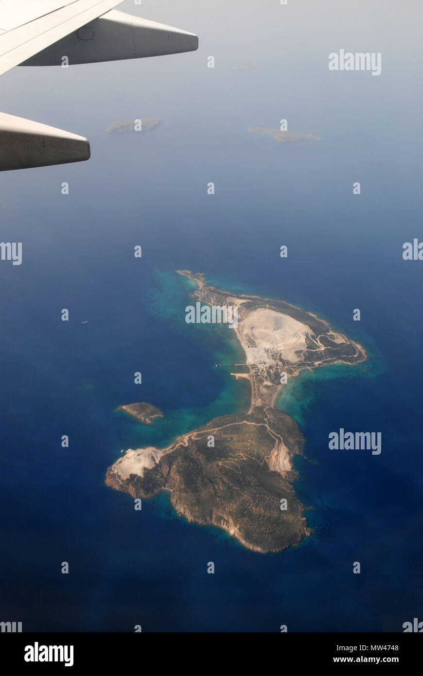 Aerial photograph of tiny Greek Islands scattered around the Aegean Sea. - Stock Image