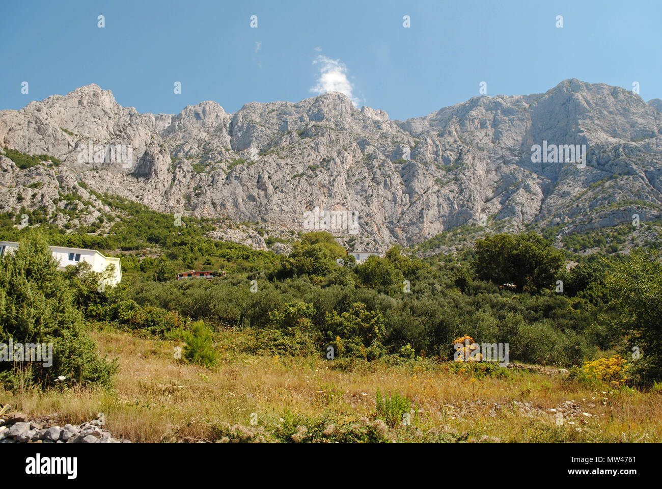The Biokovo mountain range, the second largest of its kind in Croatia. Stock Photo