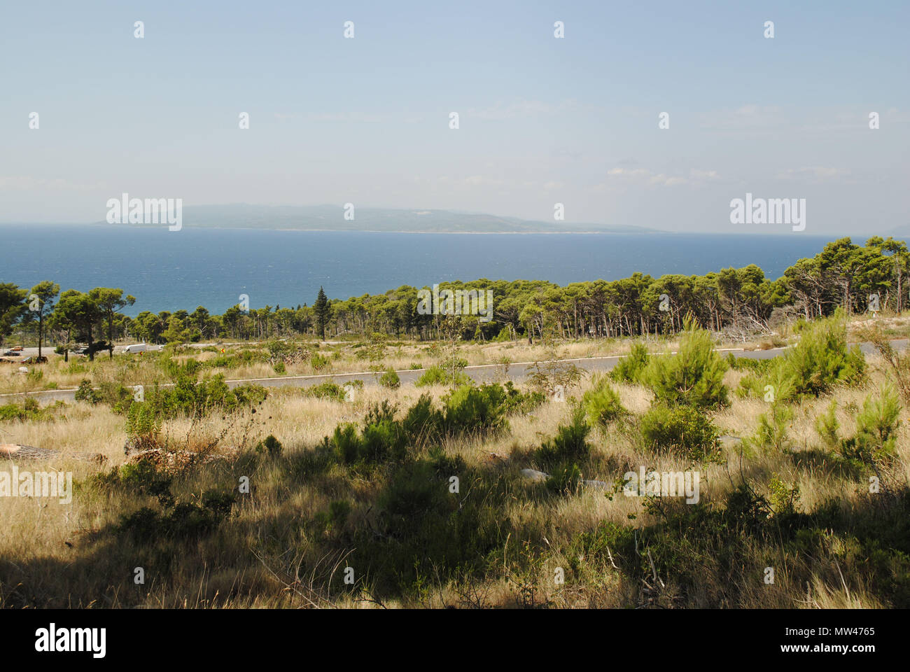 Brač Island, the largest one in Dalmatia, viewed from the mainland. Stock Photo