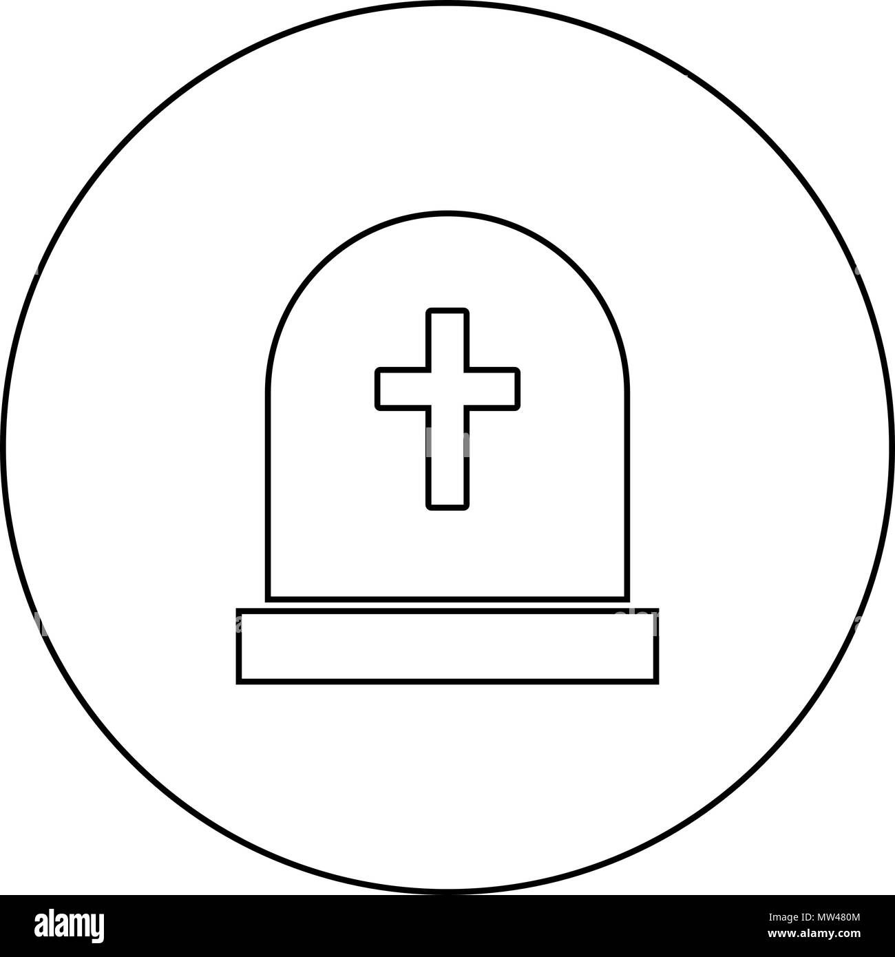 Tomb stone black icon in circle outline vector I isolated - Stock Vector