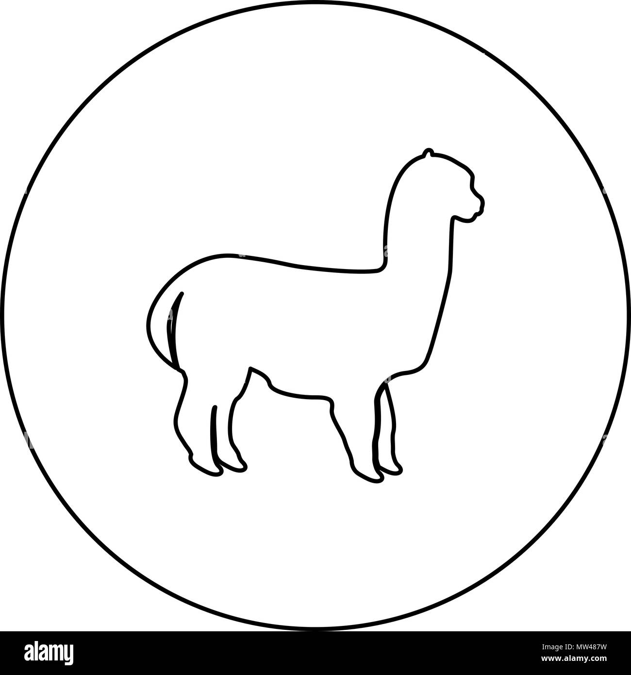 Alpaca black icon in circle outline vector I isolated Stock Vector