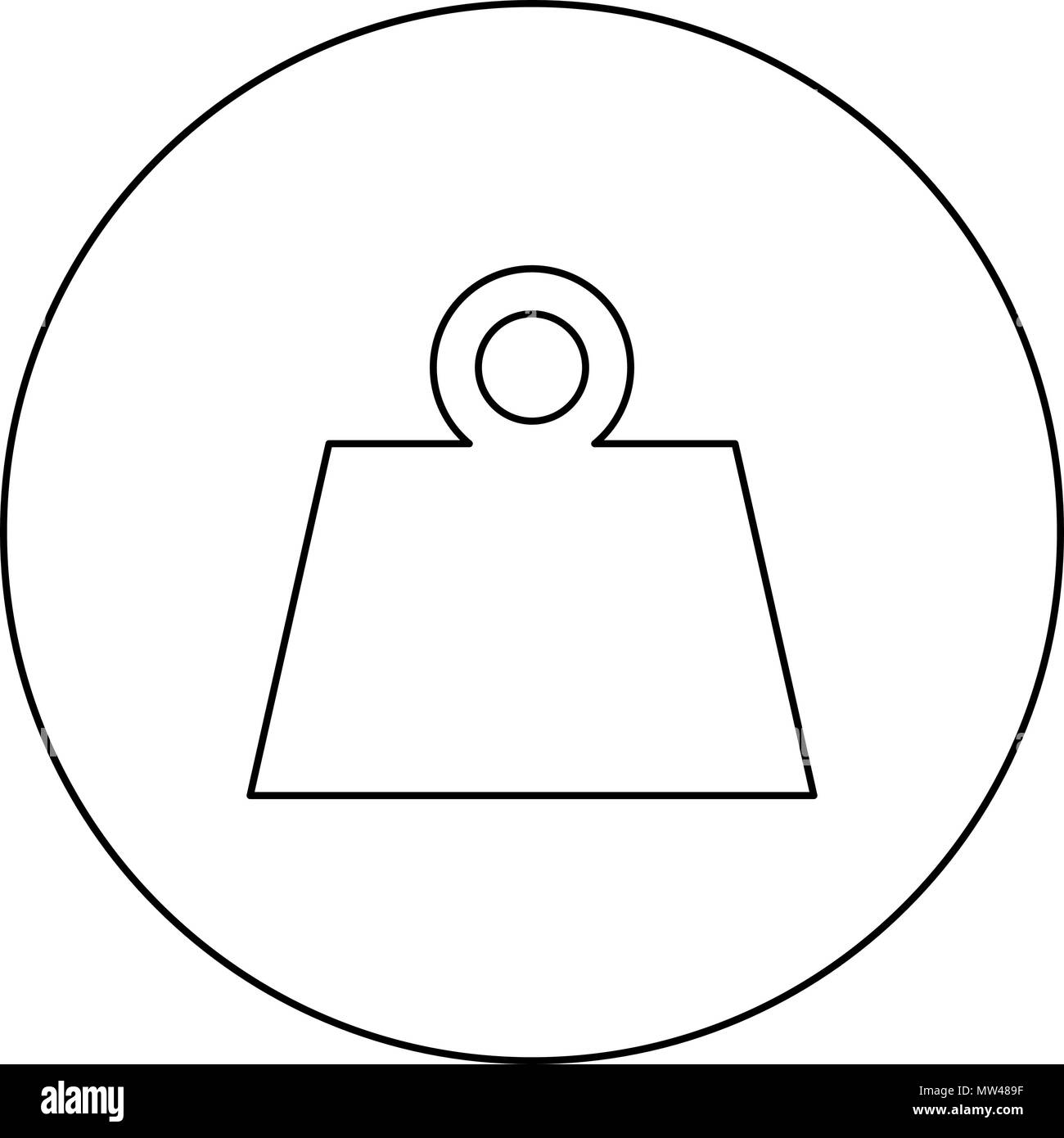 Weight black icon in circle outline vector I isolated - Stock Image