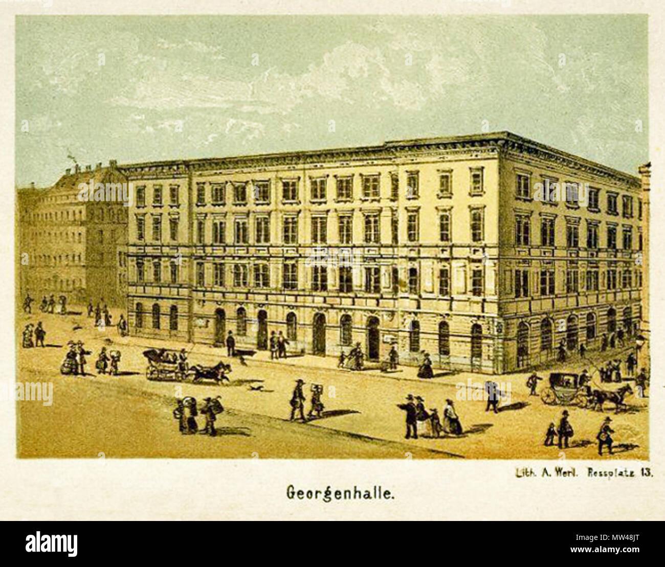 . Deutsch: Die Georgenhalle in Leipzig um 1860 . circa 1860. Adolph Werl (Lith. Inst. in Leipzig , Rossplatz 13) 239 Georgenhalle Leipzig - Stock Image