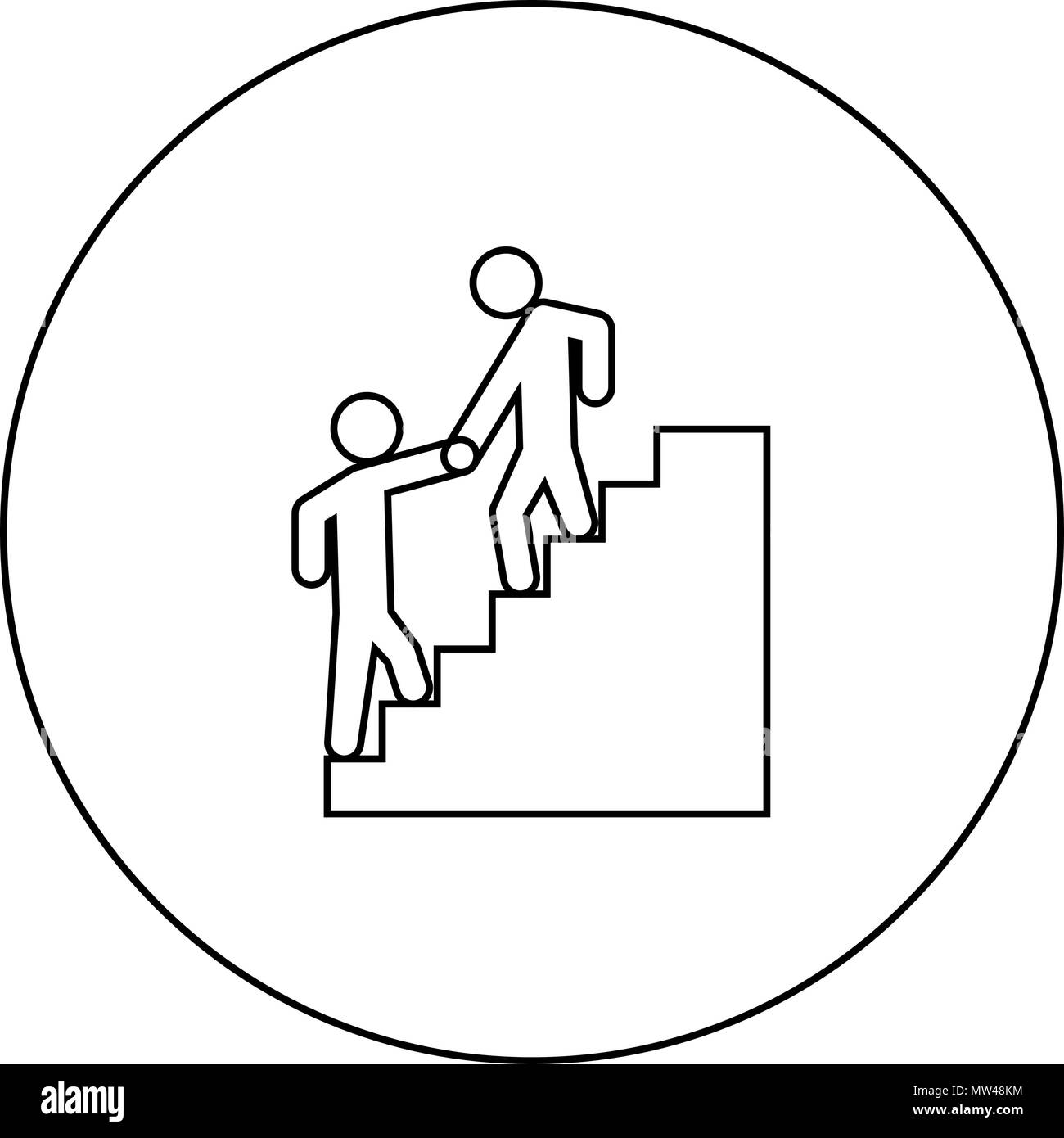 Man helping climb other man black icon in circle outline vector I isolated - Stock Vector