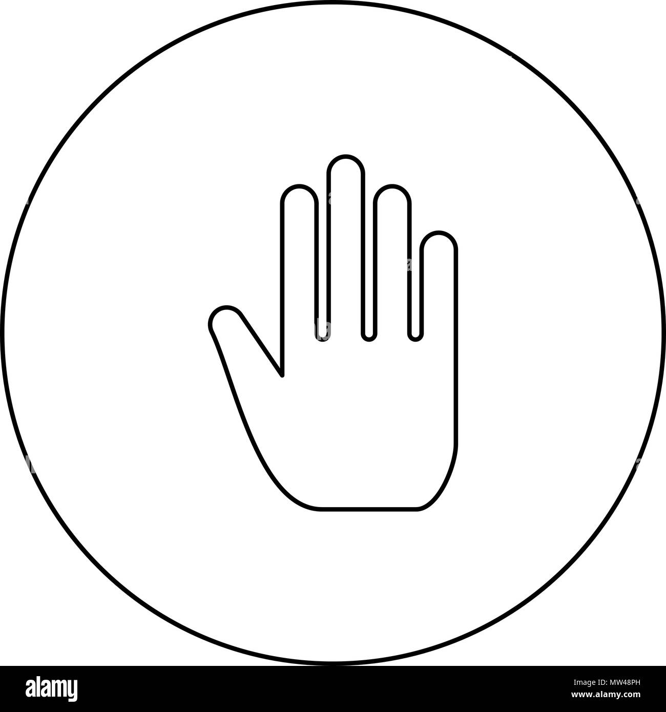 Open human hand black icon in circle outline vector I isolated - Stock Image