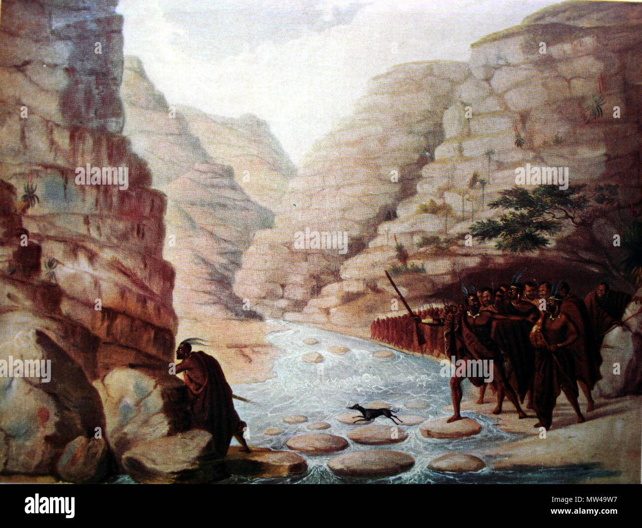 . English: 'Column of Xhosas crossing a River in a Deep Ravine', painting by Frederick Timpson I'Ons (1802-1887) . before 1887. J. J. Redgrave & Edna Bradlow 220 Frederick Timpson I'Ons08 - Stock Image