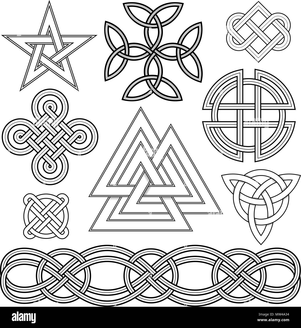 Set Of Editable Vector Celtic Knot Designs Stock Vector Image Art Alamy