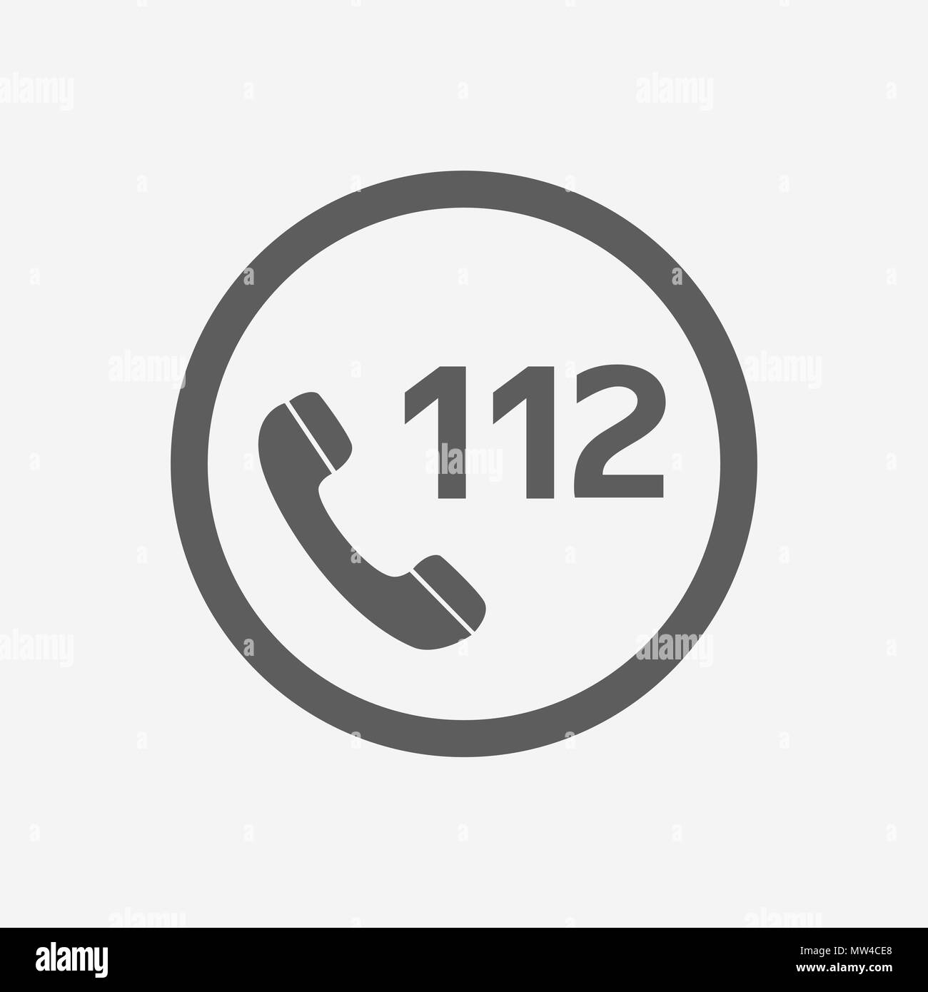 112 Emergency Call Vector Icon Illustration For Web And Mobile App Isolated White Backround.Ui Ux - Stock Image