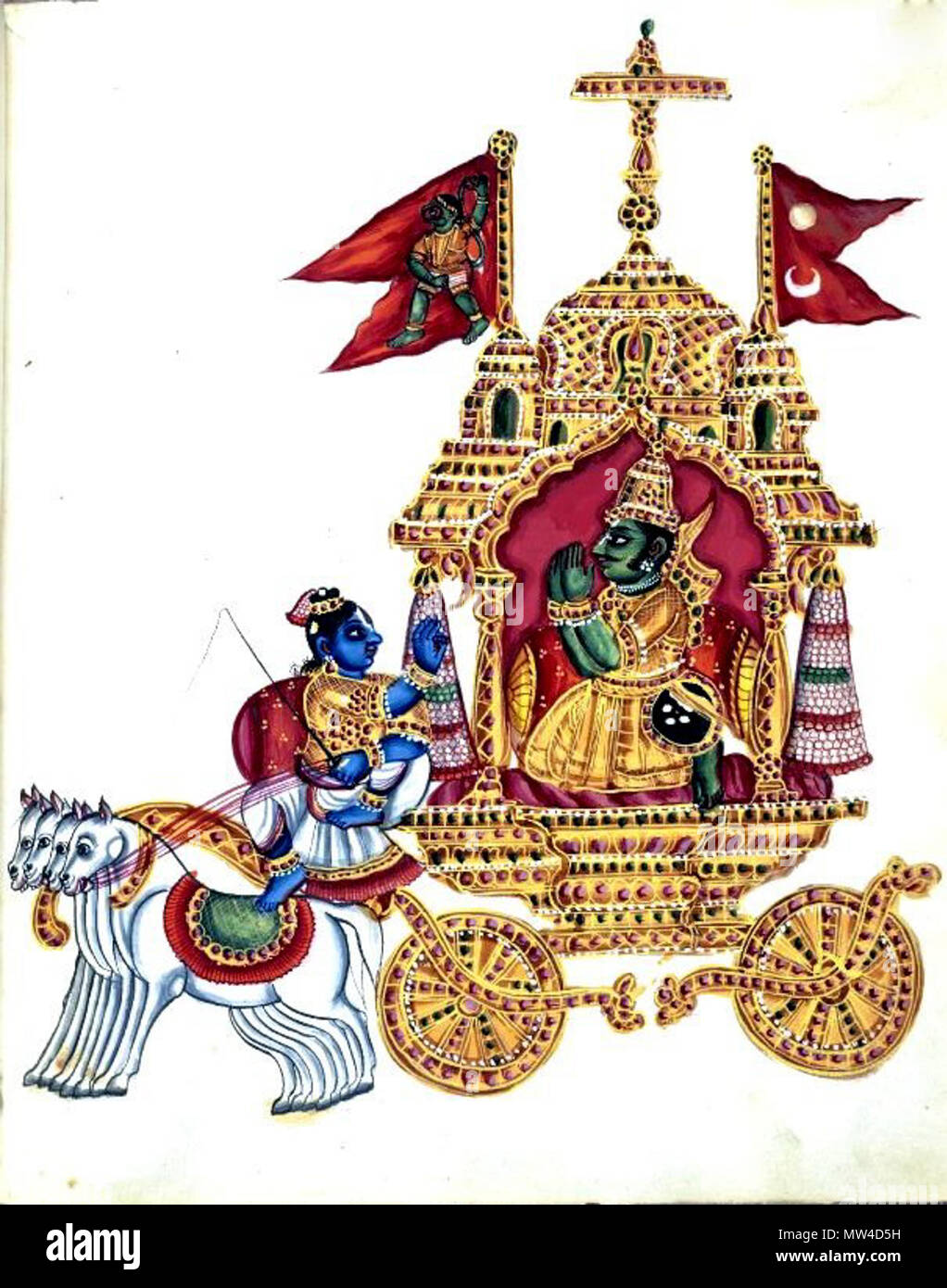 . English: 'Gouache painting on paper, part of an album of seventy paintings of Indian deities. Arjuna, dressed in courtly costume with a quiver slung over his shoulder and sword and buckler at his side, folds his hands in anjali mudra and kneels before his charioteer, Kṛṣṇa. The god sits holding the horses' bridles, with his right hand raised in the teaching gesture, jnana mudra. Their conveyance is drawn by four horses, and its roof is surmounted by a chhattra. At its sides are two flags – one with the standard bearing Arjuna's emblem, the Hanuman flag and the Flag of Nepal . circa 1830. Unk - Stock Image