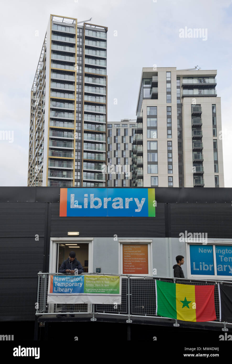New housing development by the old Elephant and Castle shopping centre, to be demolished to give way to a new mall and luxury housing in London, Engla - Stock Image