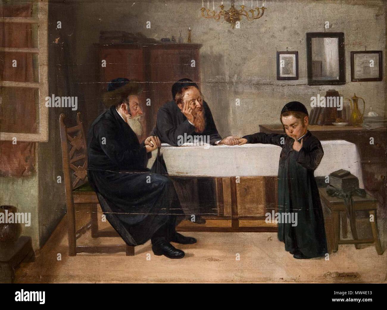 . Interieur mit Rabbiner, Vater und Sohn. Öl auf Leinwand, undeutlich signiert, 73.5 x 100.5 cm 671 Interieur mit Rabbiner Vater und Sohn Stock Photo