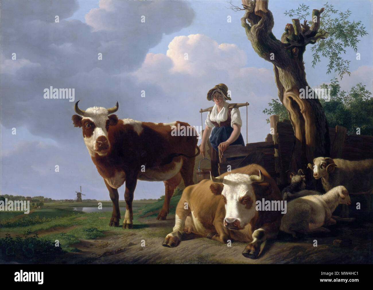 . English: Landscape with cattle and country seat Weizigt in the distance oil on canvas 127 x 170 cm signed c.r.: G:Smak Gregoor  . between circa 1790 and circa 1843. Gillis Smak Gregoor (1770-1843) 358 Landscape with cattle and country seat Weizigt in the distance, by Gillis Smak Gregoor - Stock Image