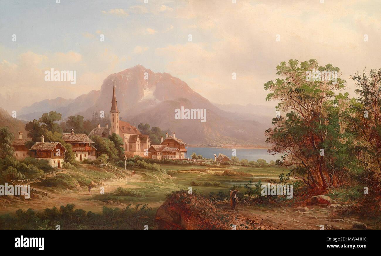 """. """"Blick auf Altausee, Steyermark"""", rückseitig betitelt, signiert, undeutlich datiert J. August (18)77?, Öl auf Leinwand, 44,5 x 70 cm . circa 1877  87 Blick auf Altaussee Steiermark Stock Photo"""
