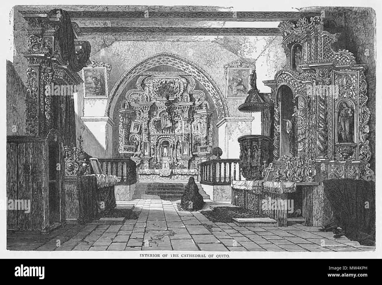 . Español: Dibujo del interior de la Catedral de Quito como lucía alrededor de 1860. Publicado originalmente en 'Viajes Ilustrados' de HW Bates, para Le Tour Du Monde (París, 1867). 1867. HW Bates 298 Interior de la Catedral de Quito (circa 1860) - Stock Image