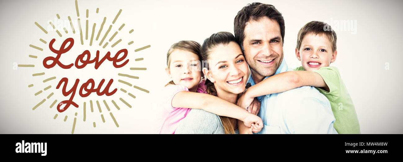 Composite image of portrait of smiling parents giving piggy-back to children - Stock Image