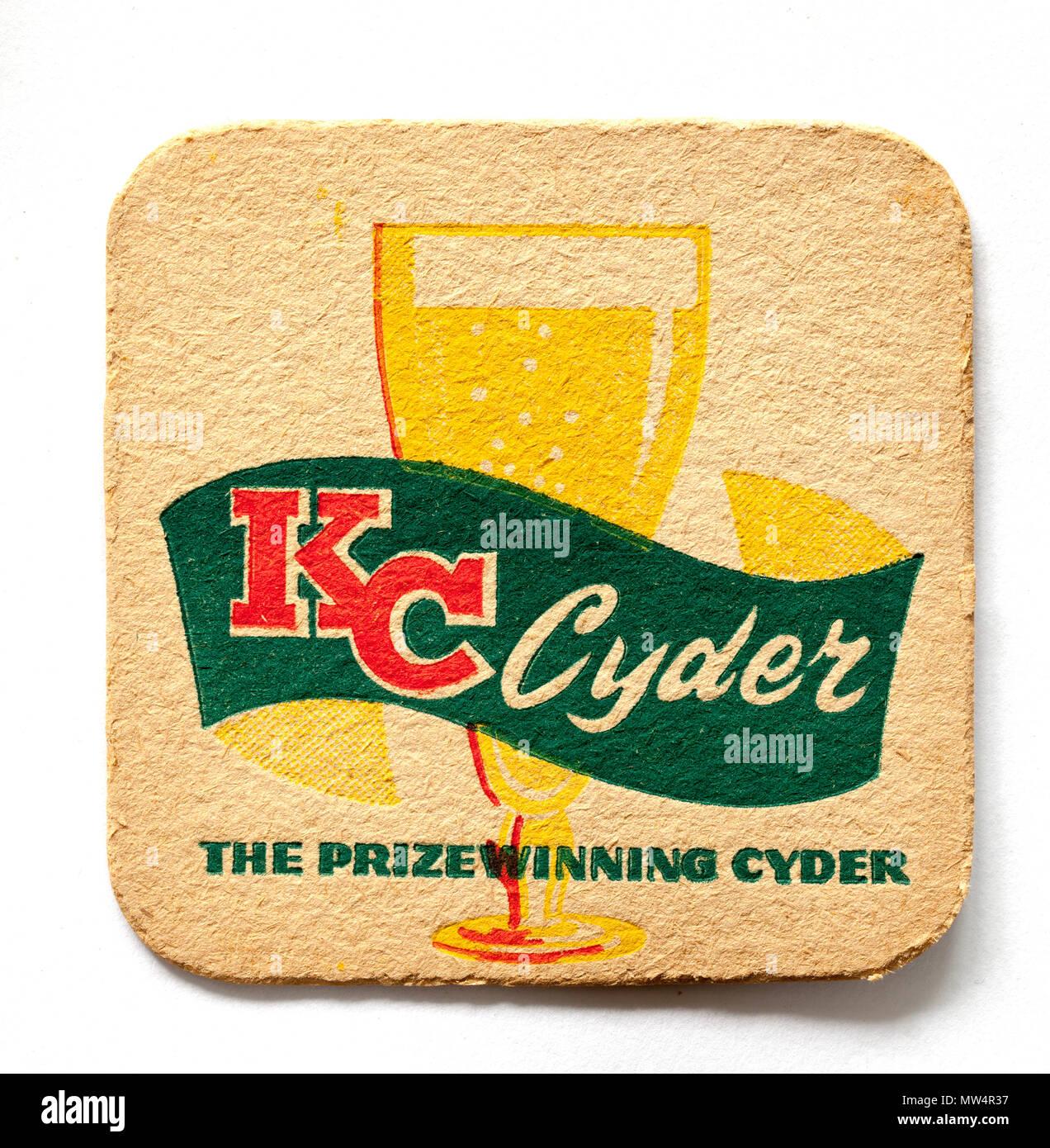 Old Vintage British Beer Mat Advertising KC Cyder - Stock Image