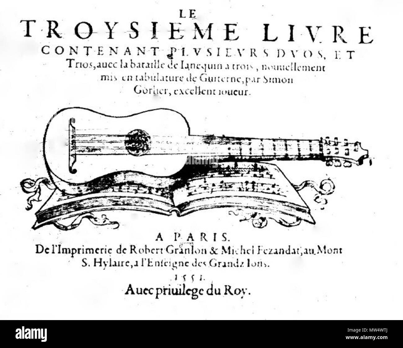 . Français: Page de titre du 3e livre de duos de Simon Gorlier (Paris: Granjon et Fézandat, 1551). 24 August 2015. Robert Granjon et Michel Fézandat, imprimeurs (Paris, 1551). 249 Gorlier L3 1551 - Stock Image