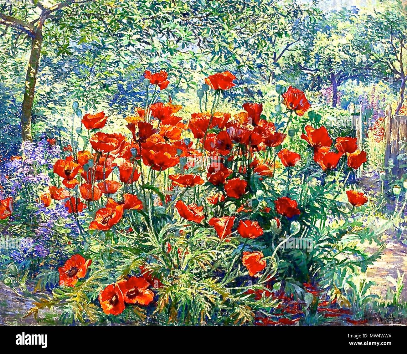 Deutsch: Juliette Wytsman: Le jardin fleuri (81.3 x 100.3 cm), Öl ...