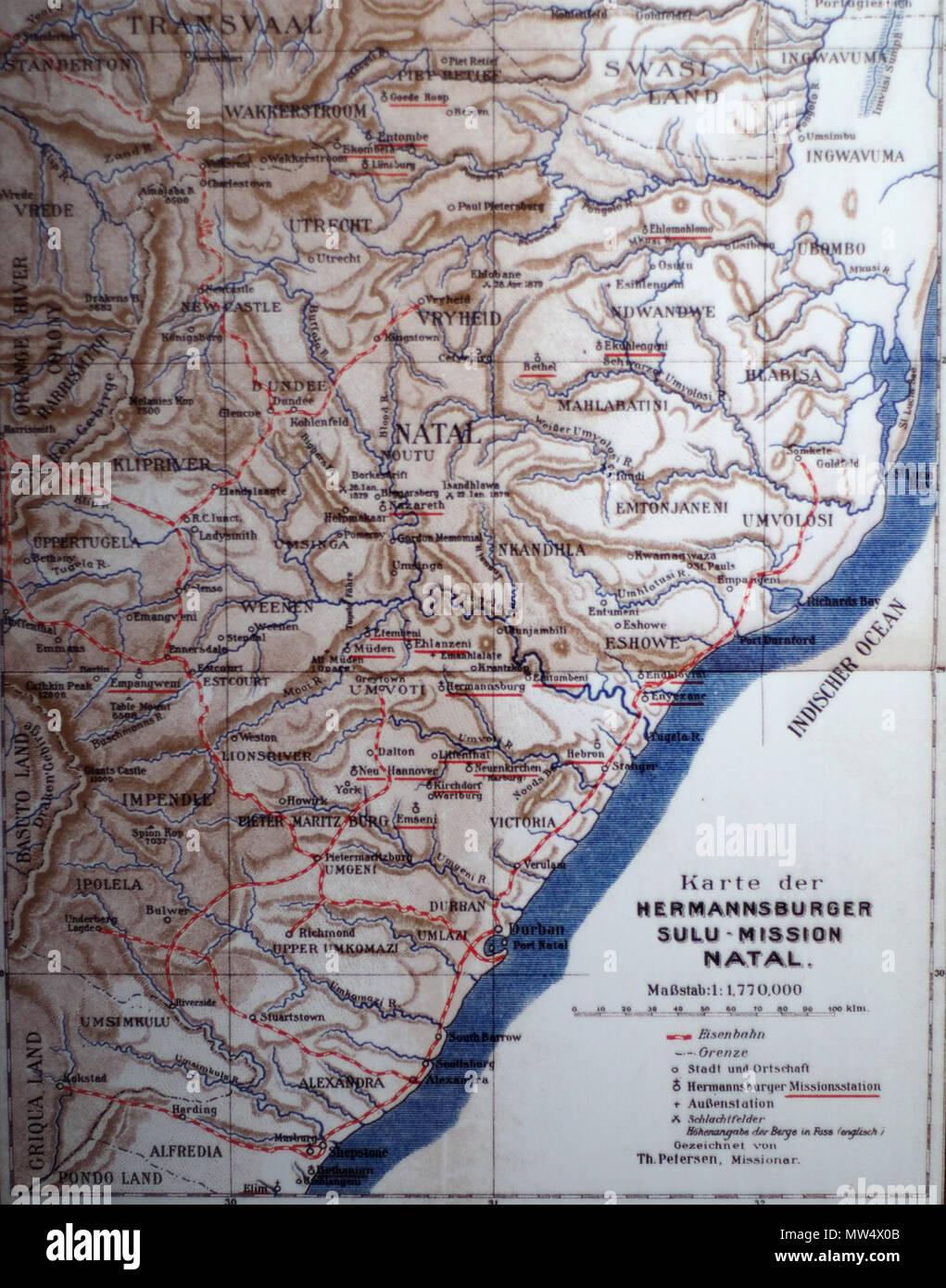 .  English: Map of the Colony of Natal, South Africa Deutsch: Karte der Hermannsburger Mission in Natal . Natal, das an der Ostküste Südafrikas liegt, gehört 1910 zum britischen Kolonialreich. Mehr als 50 Jahre sind die Missionare aus Hermannsburg dort vor Ort und haben zahlreiche Niederlassungen gegründet. Aus diesem Grund tragen viele Orte hier die gleichen Namen wie Gemeinden und Städte in Niedersachsen. 1910. Ev.-Luth. Missionswerk in Niedersachsen 438 Natal 1910 BomannMuseum@20150903 - Stock Image