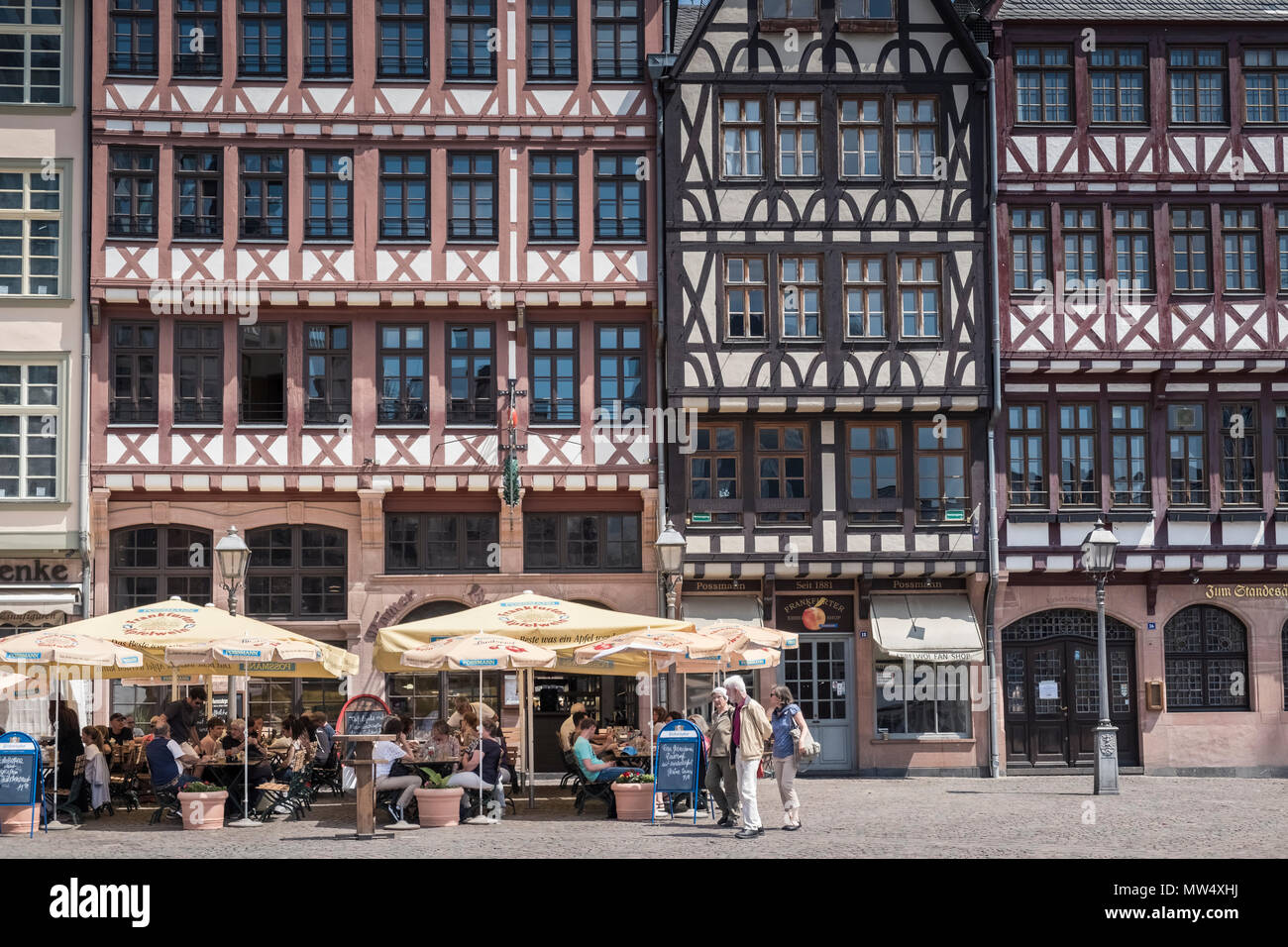 Traditional half timbered buildings, part of restoration work in the historic old town (Alstadt), Romerberg, Frankfurt am Main, Hesse, Germany. - Stock Image