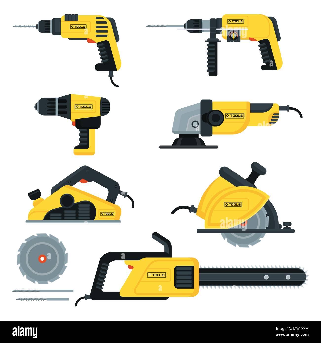 power tools set - Stock Vector