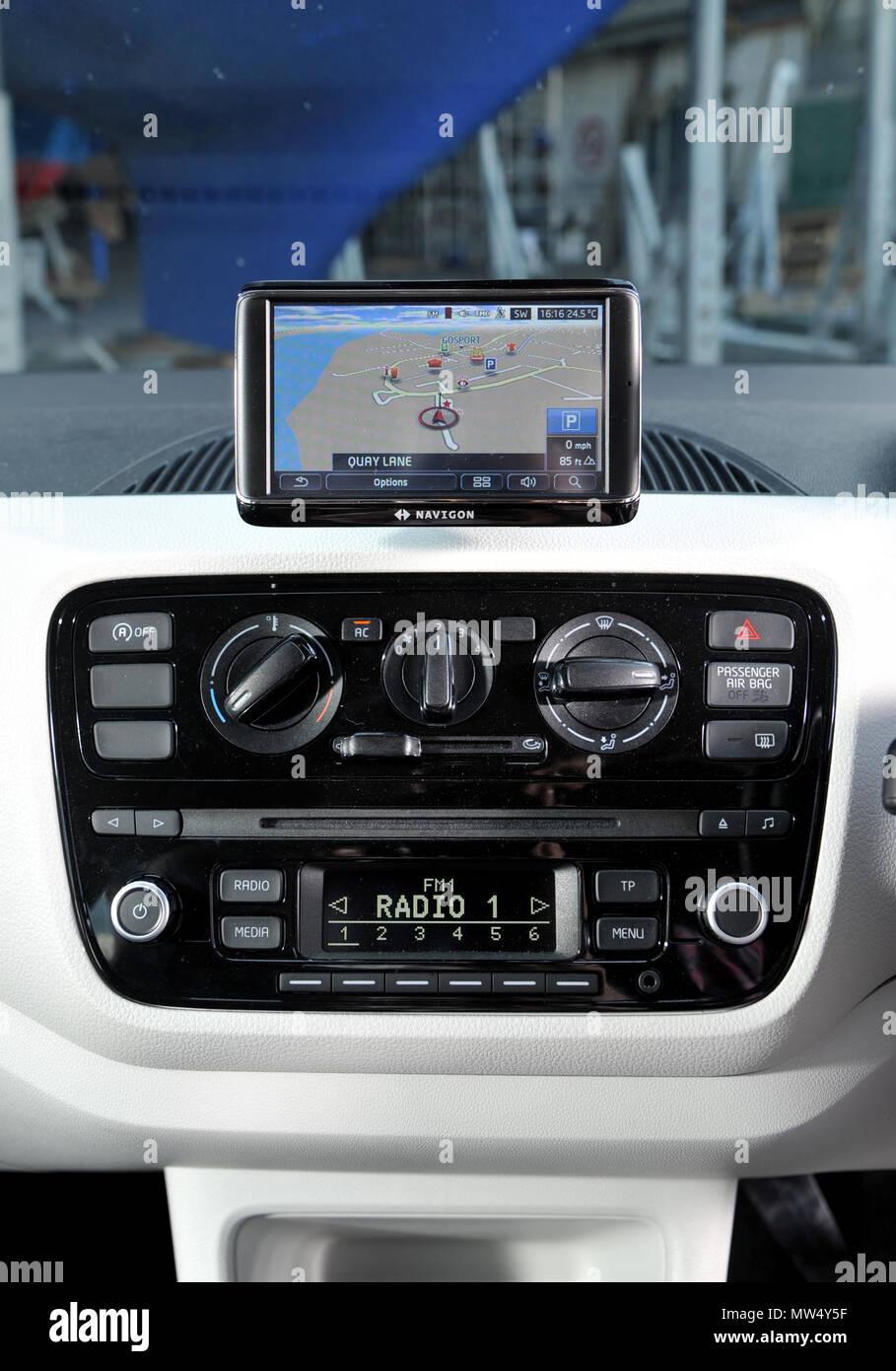 Dashboard Car Screen Road Sat Navigation Map Stock Photos