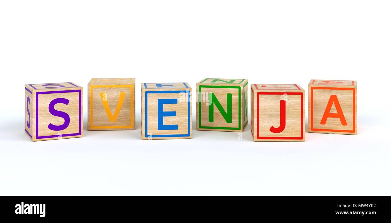 The name svenja written with Isolated wooden toy cubes - Stock Image