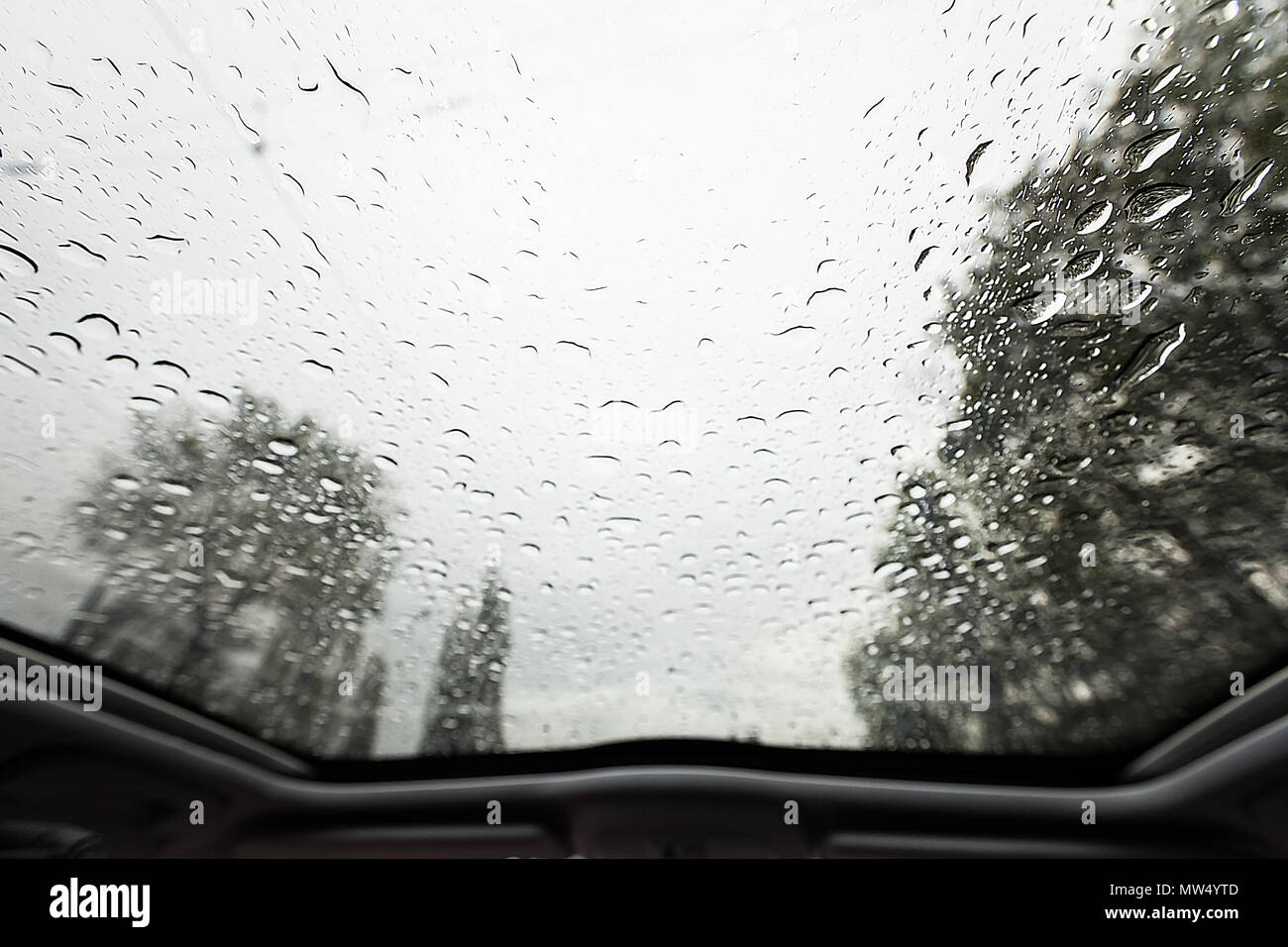 Look through windshield from inside the car at rainy weather - Stock Image
