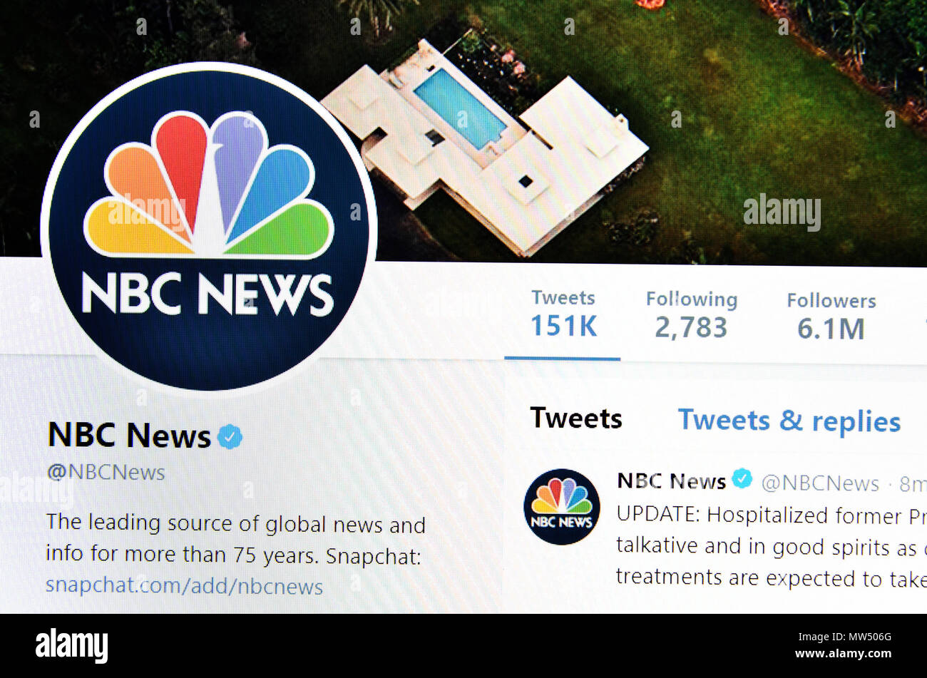 NBC News Twitter page (2018) - Stock Image
