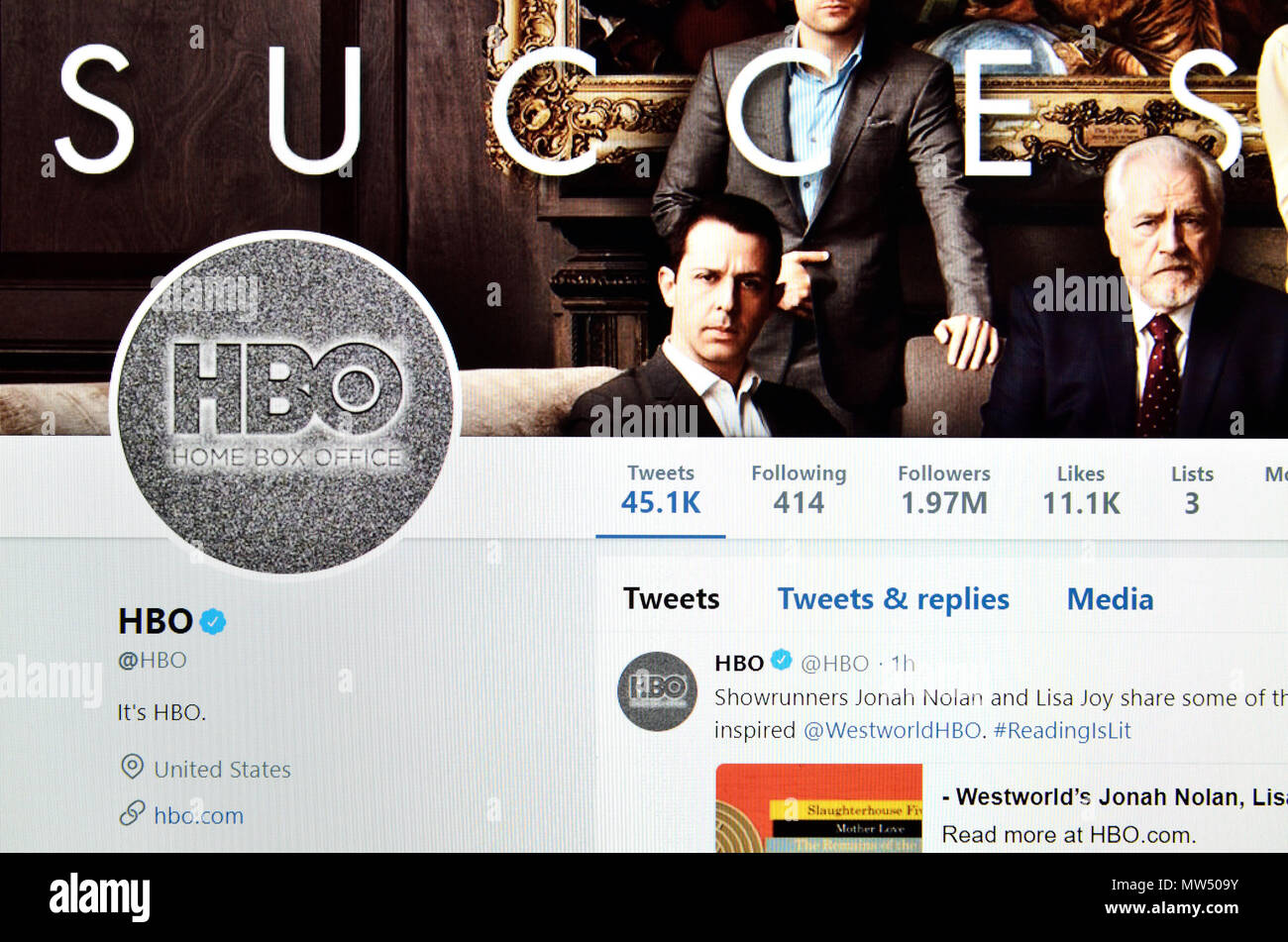 HBO (Home Box Office) Twitter page (2018 Stock Photo: 187580119 - Alamy
